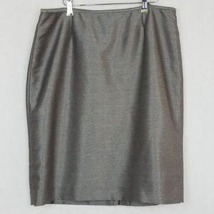 CALVIN KLEIN Pencil Skirt shiny Silver Size 14